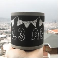 Beton Silindir Büyük Saksı 10 cm Kara Tahta